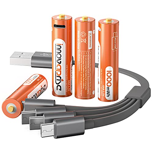 Innovaprise Lithium AAA Batteries, Rechargeable Batteries 1000mWh AAA Recharge Li-ion Battery with USB Charger, 4-in-1 micro USB Charging Cable, 1.5V Lithium Ion Battery Over 1200 Cycles(4 Pack)