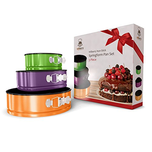 Springform Pans Set of 3   Two Round & One Heart-Shaped Cheesecake Pans   Leak Resistant & Top Rack Dishwasher Safe