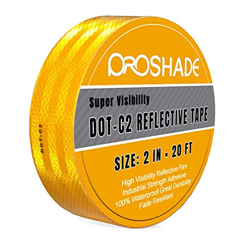 DOT-C2 Reflective Tape, Yellow Safety Warning Hazard Caution Conspiciuity Tape For School Bus Truck Trailer Boat Semi Motorcycle Bike and Helmet Waterproof (2'' × 20')