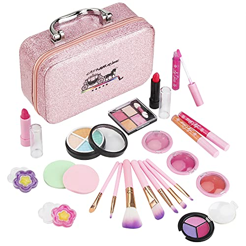 AstarX 23Pcs Makeup Toys for Kids,Real Washable Cosmetics Safe & Non-Toxic Beauty Set for Party Game Halloween Christmas Birthday.