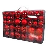 FUBAIDM 100 chucherías de la Navidad 1 en Caja Ornamento de la Bola de la Navidad a Prueba de shatters Global. Puede ser Utilizado para Decoraciones navideñas, Bodas, etc. Red