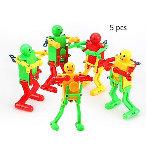 HanYoer Colorful Spring Wind-up Dancer Dancing Walking Robot Toy for Baby Kid Children,Robot Buddies for Kids Role Playing, Robots Theme Party Activity(5 pcs)