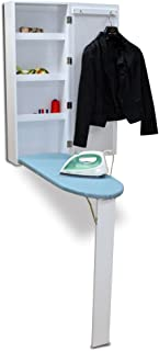 Organizedlife White Wall Mount Ironing Board Center Cabinet with Mirror and Storage Shelves