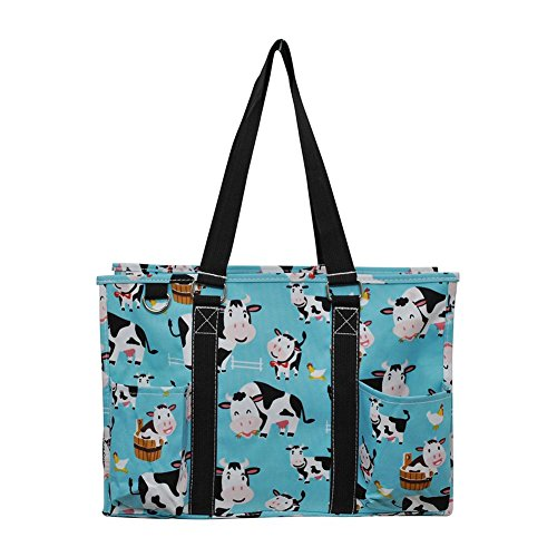 NGIL All Purpose Organizer Medium Utility Tote Bag 2018 Spring Collection (Cow Aqua Blue)