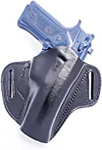 OUTBAGS USA LP104506 (BLACK-RIGHT) Black Full Grain Heavy Leather OWB Open Carry Pancake, Side Carry Belt Holster for S&W Smith & Wesson 4506 .45ACP. Handcrafted in USA.