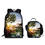 POLERO Centrosaurus 2Pcs Backpack for School Lunch Bag for Kids Durable Knapsack