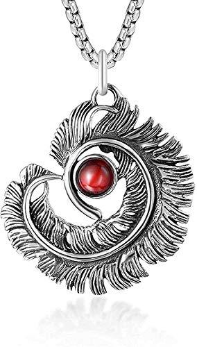 Colgante de plumas de acero de titanio retro dominante punk europeo y americano collar de personalidad de moda de hombre de gema roja