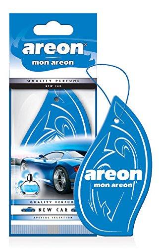 Areon Mon Ambientador Coche Olor Nuevo New Car Colgante Colgar Perfume Original Azul Cartón Retrovisor Casa Oficina 2D ( Pack de 6 )