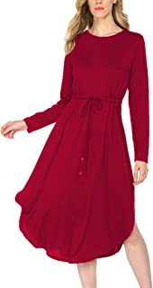 OURS Women's Casual Long Sleeve Adjustable Strappy Split Swing Midi Dresses Cocktail Party Dress