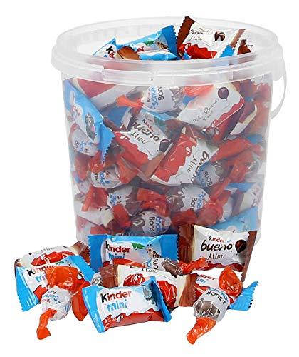 800g Ferrero Kinder Mini Mix in 2 Liter Kunststoff-Eimer mit Kinder Schoko-Bons, Kinder Schokolade mini & Kinder Bueno mini