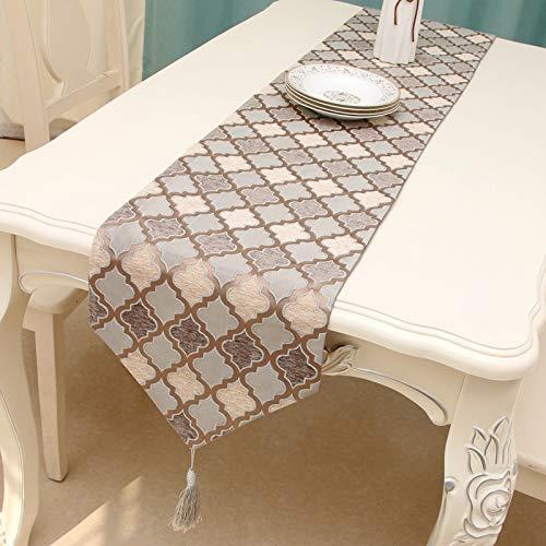 HUANGRONG Camino de mesa de lujo para fiesta de boda mantel geométrico cama hecho a mano
