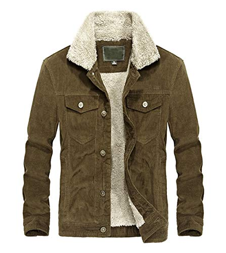 Mens Vintage Button-Front Sherpa Lined Shearling Slim Fit Corduroy Coffee Brown Denim Jacket