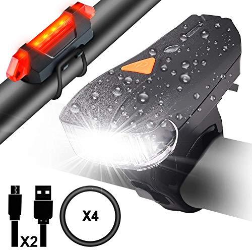 Myguru Luci Bicicletta, Luce Bici LED Ricaricabile USB Impermeabile Set Fanalini Anteriori Posteriori Bike Lampadine Ciclismo Bici Strada Montagna Sicurezza Notte Sensore Intelligente 5 modalità