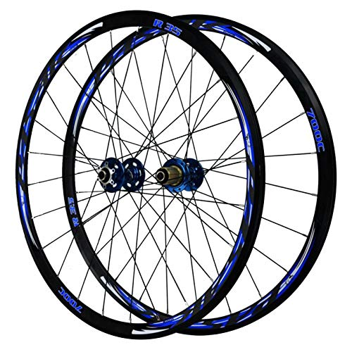 CHICTI 700C Bicycle Wheel,29in Rear Wheel Double Wall Cycling Hub V Brake/disc Brake 7/8/9/10/11 Speed Flywheel Outdoor (Color : Blue)