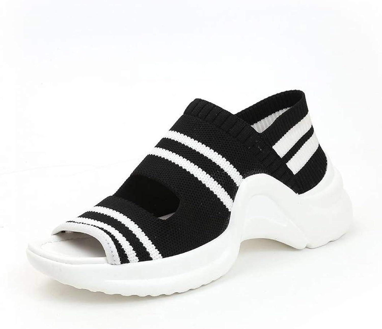 JOYBI Women Platform Chunky Sandals Non Slip Knitting Summer Breathable Casual Peep Toe Wedges Loafers shoes