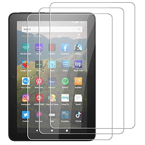 3 Pack OEAGO All-New Fire HD 8 and Fire HD 8 Plus Tablet 8-inch (10th Generation-2020 Release) Tempered Glass Film,9H Hardness-HD-No Bubbles-Anti-Fingerprint-Anti-Scratch