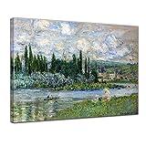 Leinwandbild Claude Monet Ansicht von Vétheuil sur Seine - 60x50cm quer - Wandbild Alte Meister Kunstdruck Bild auf Leinwand Berühmte Gemälde