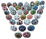 Juego de 20 tiradores vintage de cerámica, con distintos diseños de flores, ideales para puertas, armarios, cajones y cómodas