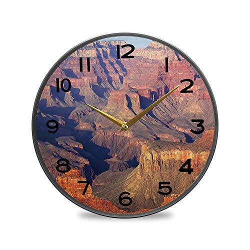 ALUONI Non-Ticking Acrylic Decorative Round Wall Clock South Rim Grand Canyon Before Sunset, Arizona, Us Vintage Rustic Country Tuscan Style Home Decor Round Wall Clock 9.5
