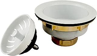 Plumb Pak K1439WH Keeney Deep Thread Cast Brass Sink Power Ball Basket, Complete Kitchen Strainer 3.5