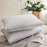 Decroom Natural Goose Duck Down Feather Pillows for Sleeping,Gusseted Bed Pillow Inserts with 100% Cotton Cover, Standard Size,Set of 2