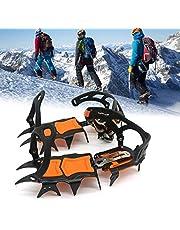 14 tänder stål is gripare spik för skor, halkskydd klättring vandring snö spikes kramponger dubbar grepp stövlar skydd kramponger, orange