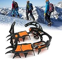 靴用14歯鋼アイスグリッパースパイク、アンチスリップクライミングハイキングスノースパイクアイゼンクリートグリップブーツカバーアイゼン,Orange