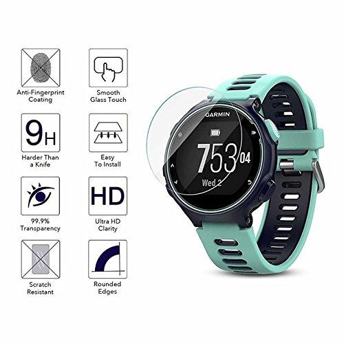 YANSHG® Pour Garmin Forerunner 735XT montre en verre trempé protecteur d'écran, anti-rayures Ultra Clear 9H protecteur de verre trempé