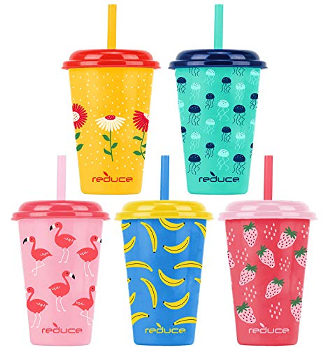 Reduce GoGo's – 12 oz Kids Tumbler Set, 5 Pack – Plastic Kids Cups with Straws and Lids – Dishwasher Safe, BPA Free – An Ideal Kids Smoothie Cup – Mix and Match, 5 Fun Designs, Sweet