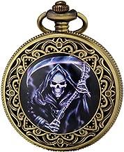 SEWOR Fashion Bronze Quartz Enamel Painting Pocket Watch Black Dial + Leather Box (Grim Reaper)