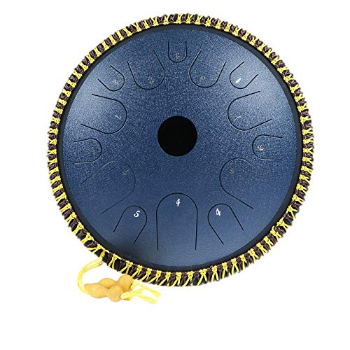 Steel Tongue Drum 14 Notes 14 inch Handpan Percussion Instrument Dish Shape Drum C-Key Manual Percussion Steel Tongues with Rope Decoration and Mallets,Bag, Music Book