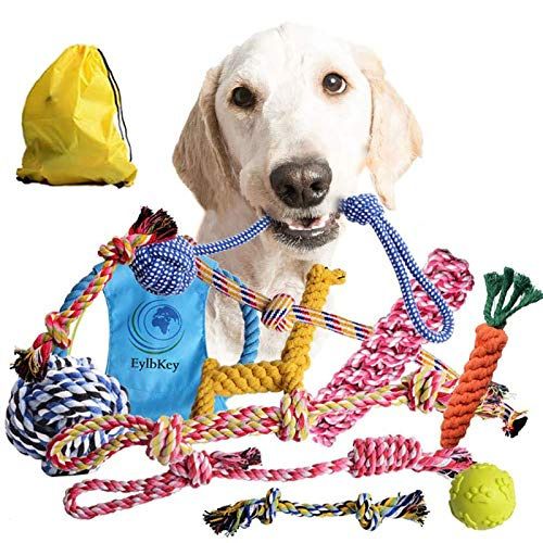 Dog Rope Toys for Aggressive Chewers by EylbKey Puppy Chew Dog Toys Set Durable Dog Toys for Puppy Small Medium Dogs - 12 Pack