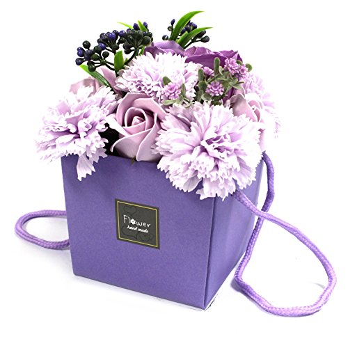 Bouquet di saponi a forma di fiori, alla lavanda