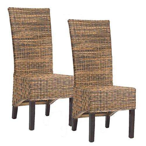 2-er Set Rattanstuhl ALBANA in Bi-Color Stuhlset Stuhl Rattan Esszimmerstuhl