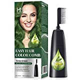 HJL Hair Color Permanent Hair Dye Cream with Comb Applicator Ammonia-Free Hair Coloring Kit, Grass Green, Pack of 1
