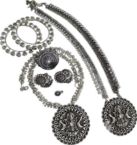Juego de 10 piezas de GANESHA con amor, 2 collares con pendientes a juego, anillo, anillo de nariz y brazaletes (tamaño 2,6)