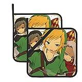 Zelda Link Legend Zelda Games - Guantes de horno resistentes al calor - Soporte de doble manopla para horno con diseño antideslizante de silicona para el hogar y la cocina - Juego de 2 fundas aisladas