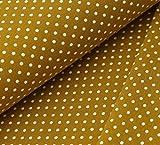 Jersey Stoff mit weißen Punkten auf Senf als Meterware zum