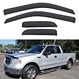 LQQDP Set of 4 Front+Rear Smoke Sun/Rain Guard Outside Mount Tape-On Acrylic Window Visors For 04-14 Ford F-150 Super/Extended Cab With Half Size Suicide Back Doors