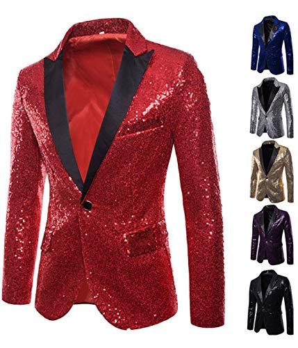 Veste de Costume de Luxe pour Homme Shiny Notch Lapel Slim Fit Vestes de Smoking(US-S=Medium,Rouge)