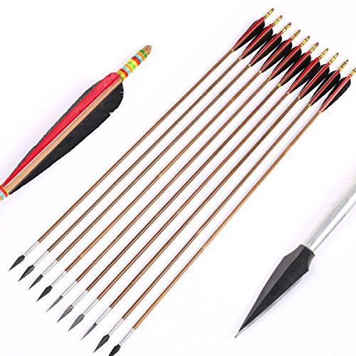 Recurvado Tradicional Caza Del Arco Compuesto Arco De Tiro Con Arco Y La Flecha De Movimiento Común De Bambú Flecha Flechas De Madera De Fibra De Vidrio 10pcs