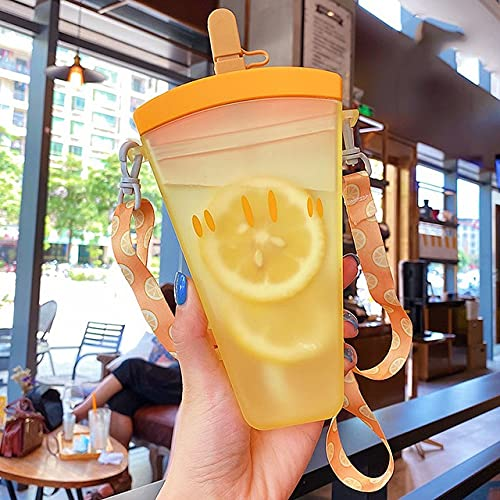 Yuzhijie Botellas de agua de plástico lindo sandía helado botella de agua con botella de pajita anticaída portátil para niños (capacidad: 320 ml, color: 1)