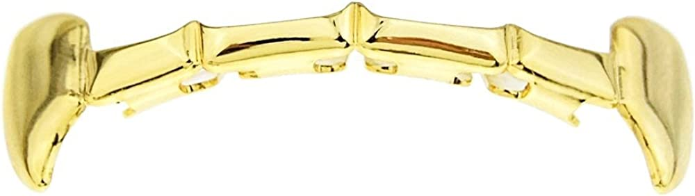 Fang Grillz 14k Gold Plated Upper Top Row Slim Bar Half Teeth Hip Hop Dracula Vampire K9 Grills