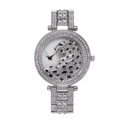 KLFJFD Reloj De Esfera De Diamantes De Imitación De Leopardo Redondo Informal De Moda para Mujer Reloj De Cuarzo De Moda Creativa De Lujo Ligero Europeo Y Americano