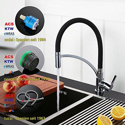 Homelody Schwarz Wasserhahn Küche Küchenarmatur Armatur Spüle Mischbatterie Einhebel Spültischarmatur Spiralfederarmatur - 4