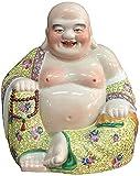WECDS Estatua de Buda, Figura de cerámica de Buda Feliz, Multicolor, Feng Shui, Buda riendo, esculturas budistas, decoración del hogar, Figuras de Buda (Color: Verde) (Color: Verde)