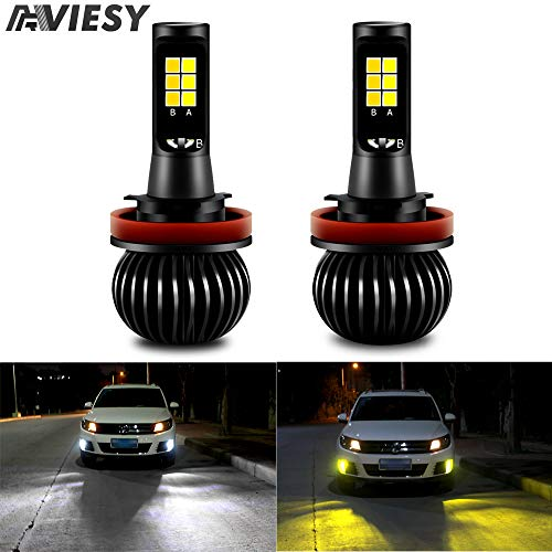 Viesyled H11 H8 H9 LED Fog Light Bulbs Dual Color White Yellow, Super Bright 70W 5000LM 3030SMD Fog Light 6000K White/3000K Yellow Replacment for Vehicle Car DRL Fog Lights