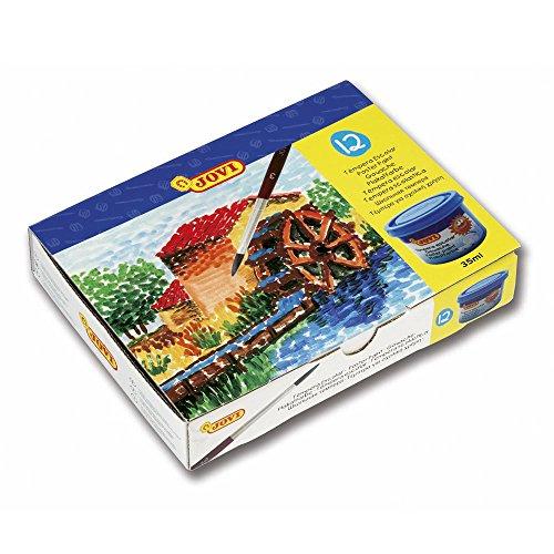 JOVI 152818 - Caja de 12 botes de tempera escolar de 35 ml,