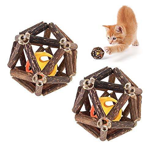 YeenGreen Holz Pet Kauspielzeug Mit Glocke Ball, Katzenminze Spielzeug Ball,Katzen Spielzeug Ball natürliche Stick, Interaktive Spielzeug Glocke Ball für Katze Reinigung des Mundes Zahnpflege