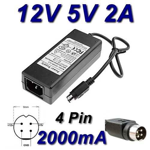 Adaptador de alimentación, cargador de 12 V, 5 V, 2 A, 4 pines para lector de disco duro Best Buy Easy Player HD Jumbo Plus MPEG4 Player con tarjeta Reader